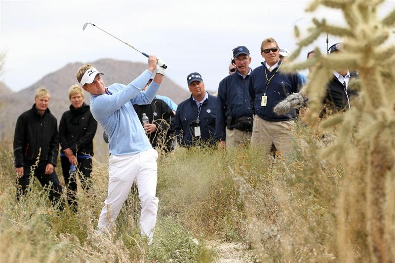 MARANA, AZ - FEBRUARY 26:  Luke Donald of England hits his second shot from the rough on the second hole during the semifinal round of the Accenture Match Play Championship at the Ritz-Carlton Golf Club on February 26, 2011 in Marana, Arizona.  (Photo by Andy Lyons/Getty Images)