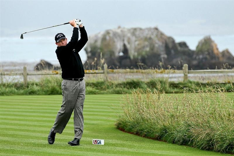 PEBBLE BEACH, CA - JUNE 18:  Shaun Micheel  watches his tee shot on the 18th hole during the second round of the 110th U.S. Open at Pebble Beach Golf Links on June 18, 2010 in Pebble Beach, California.  (Photo by Jeff Gross/Getty Images)