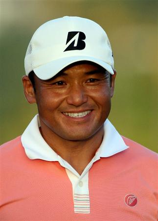 HONOLULU - JANUARY 15:  Shigeki Maruyama of Japan smiles on the 18th hole following the first round of the Sony Open at Waialae Country Club on January 15, 2009 in Honolulu, Hawaii.  (Photo by Sam Greenwood/Getty Images)