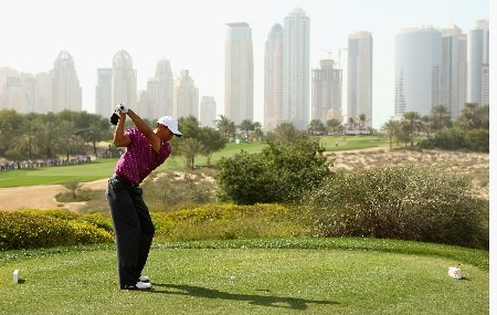DUBAI, UNITED ARAB EMIRATES - FEBRUARY 02:  Tiger Woods of USA tees off on the eighth hole during the third round of the Dubai Desert Classic on the Majilis course at Emirates Golf Club on February 2, 2008 in Dubai, United Arab Emirates.  (Photo by Andrew Redington/Getty Images)