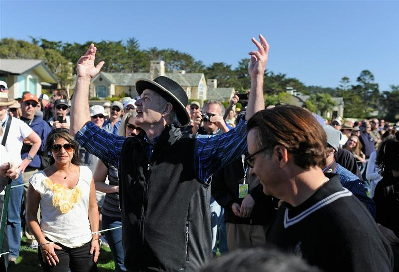 PEBBLE BEACH, CA - FEBRUARY 09:  Actor Bill Murray gestures to fans during the 3M Celebrity Challenge at the AT&T Pebble Beach National Pro-Am at Pebble Beach Golf Links on February 9, 2011  in Pebble Beach, California.  (Photo by Stuart Franklin/Getty Images)