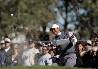 Tiger Woods hits a bunker shot to the 18th green during the second round of the Buick Invitational at the Torrey Pines Golf Course on January 25, 2008 in La Jolla, California. PGA TOUR - 2008 Buick Invitational - Round TwoPhoto by Jeff Gross/Getty Images