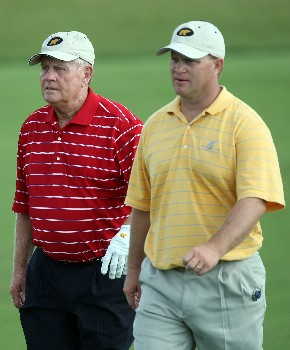 CHAMPIONS GATE, FLORIDA - DECEMBER 02:  Gary Nicklaus and his father Jack Nicklaus play the 10th hole during the final round of the 2007 Del Webb Father Son Challenge on the International Course at Champions Gate Golf Club, on December 2, 2007 in Champions Gate, Florida,  (Photo by David Cannon/Getty Images)