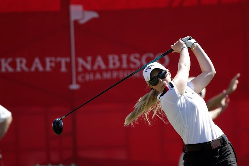 RANCHO MIRAGE, CA - MARCH 30:  Morgan Pressel of the USA in action during the pro-am for the 2011 Kraft Nabisco Championship on the Dinah Shore Championship Course at the Mission Hills Country Club on March 30, 2011 in Rancho Mirage, California.  (Photo by David Cannon/Getty Images)