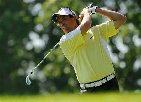 AKRON, OH - AUGUST 01:  Stephen Ames of Canada hits during the second round of the WGC-Bridgestone Invitational at Firestone Country Club South Course on August 1, 2008 in Akron, Ohio.  (Photo by Sam Greenwood/Getty Images)