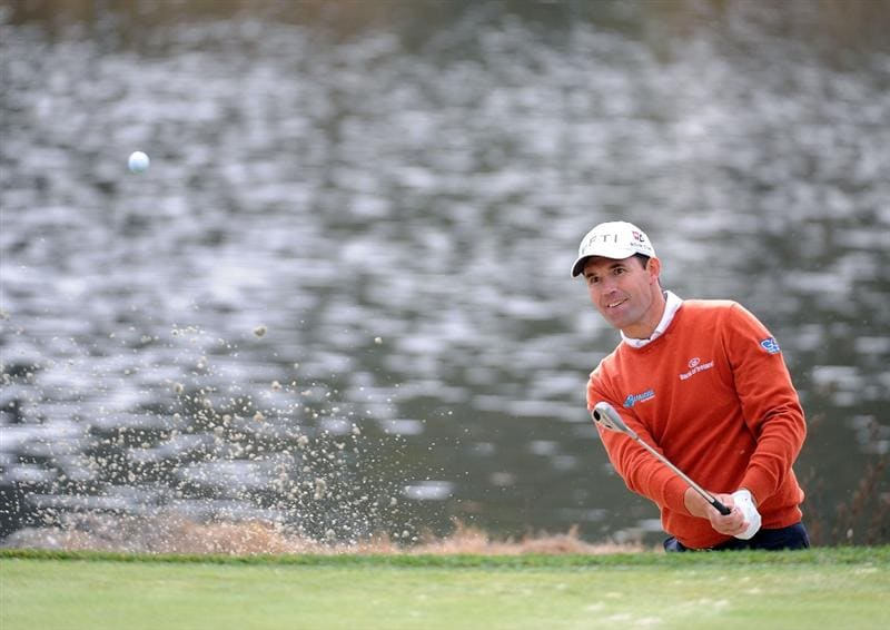 THOUSAND OAKS, CA - DECEMBER 06:  Padraig Harrington of Ireland hits out of the bunker on the third hole during the fourth round of the Chevron World Challenge at Sherwood Country Club on December 6, 2009 in Thousand Oaks, California.  (Photo by Harry How/Getty Images)