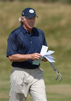 TROON, UNITED KINGDOM - JULY 23:  Greg Norman of Australia during a practice round prior to the Senior Open Championships at Royal Troon on July 23,2008 in Troon,Scotland.  (Photo by Ross Kinnaird/Getty Images)