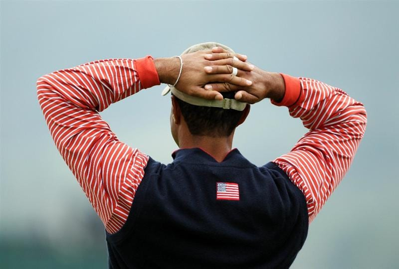 NEWPORT, WALES - SEPTEMBER 30:  Tiger Woods of the USA waits on a green during a practice round prior to the 2010 Ryder Cup at the Celtic Manor Resort on September 30, 2010 in Newport, Wales.  (Photo by Andy Lyons/Getty Images)
