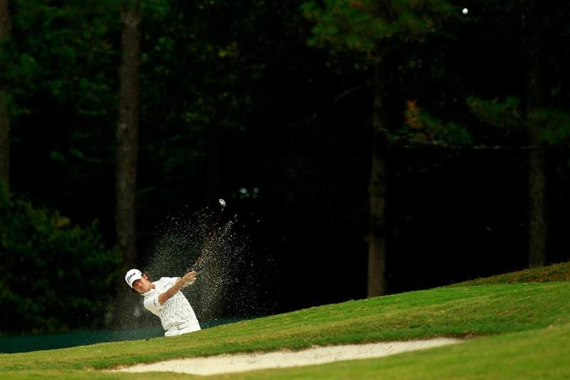 ATLANTA - SEPTEMBER 24:  Kevin Na plays his second shot out of the sand on the 16th hole during the second round of THE TOUR Championship presented by Coca-Cola at East Lake Golf Club on September 24, 2010 in Atlanta, Georgia.  (Photo by Kevin C. Cox/Getty Images)