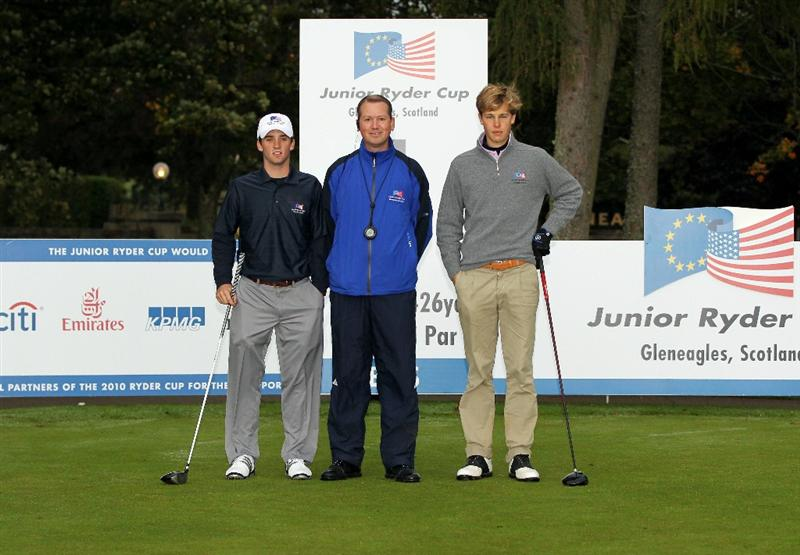 GLENEAGLES, SCOTLAND - SEPTEMBER 28:  (L-R) Denny McCarthy, referee Euan Mordant and Thomas Detry pose for a photograph at the start of the second day of play at the Junior Ryder Cup at Gleneagles on September 28, 2010 near Muirton, Scotland. (Photo by Ian MacNicol/Getty Images)