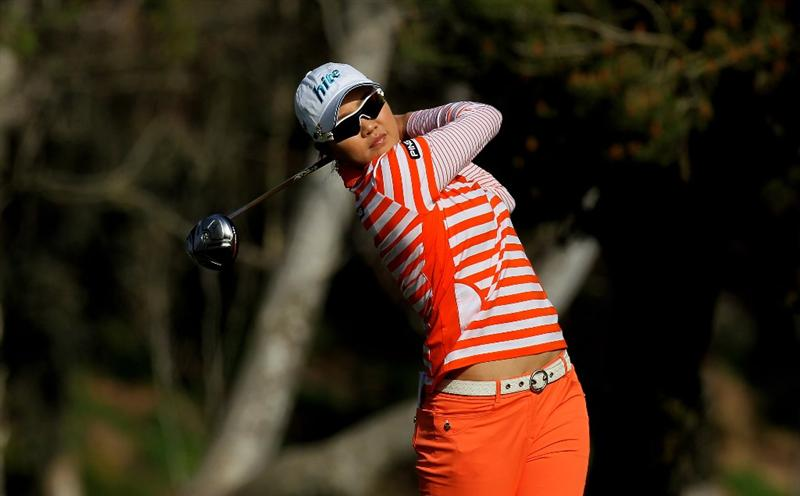 CARLSBAD, CA - MARCH 26:  Hee Kyung Seo of South Korea hits her tee shot on the seventh hole during the second round of the Kia Classic Presented by J Golf at La Costa Resort and Spa on March 26, 2010 in Carlsbad, California. (Photo by Stephen Dunn/Getty Images)