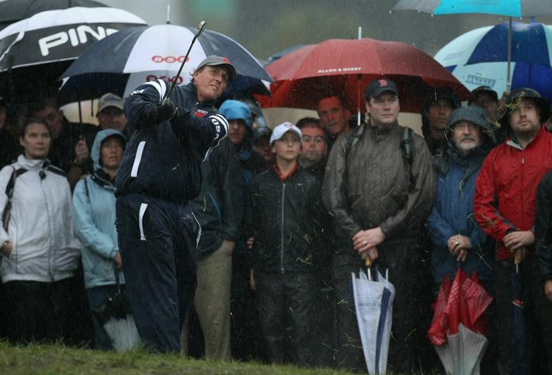 NEWPORT, WALES - OCTOBER 01:  Phil Mickelson of the USA plays a shot from the rough on the second hole during the Morning Fourball Matches during the 2010 Ryder Cup at the Celtic Manor Resort on October 1, 2010 in Newport, Wales.  (Photo by Ross Kinnaird/Getty Images)