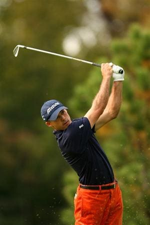 VERONA, NY - OCTOBER 03:  Jonathan Byrd tees off on the on the 3rd hole during the third round of the 2009 Turning Stone Resort Championship at Atunyote Golf Club held on October 3, 2009 in Verona, New York.  (Photo by Chris Trotman/Getty Images)