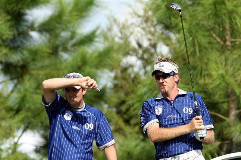 ORLANDO, FL - MARCH 16:  Ian Poulter and Justin Rose of England and Lake Nona at the 17th hole during the first day of the 2009 Tavistock Cup at the Lake Nona Golf and Country Club, on March 16, 2009 in Orlando, Florida  (Photo by David Cannon/Getty Images)