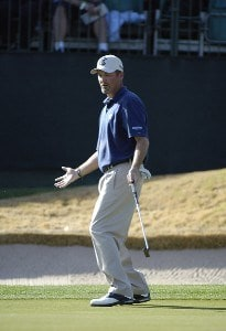 Jerry Kelly misses a birdie putt on the 18th green during the final round of the 2006 Chrysler Classic of Tucson on Sunday , February 26, 2006 at the Omni Tucson National Golf Resort and Spa in Tucson, ArizonaPhoto by Marc Feldman/WireImage.com
