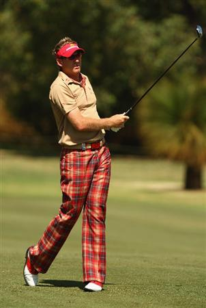 PERTH, AUSTRALIA - FEBRUARY 17:  Ian Poulter of England in action during the Pro-Celebrity event in aid of the Victorian Bushfires Red Cross appeal as a preview for the 2009 Johnnie Walker Classic tournament at the Vines Resort and Country Club, on February 17, 2009 in Perth Western Australia.  (Photo by Ian Walton/Getty Images)