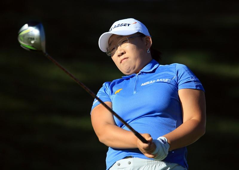 HUIXQUILUCAN, MEXICO - MARCH 20:  Jiyai Shin of South Korea watches her tee shot on the 10th hole during the first round of the MasterCard Classic at the BosqueReal Country Club on March 20, 2009 in Huixquiucan, Mexico.  (Photo by Scott Halleran/Getty Images)