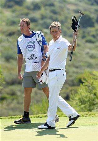 CASARES, SPAIN - MAY 22:  Luke Donald of England acknowledges the crowd after beating Martin Kaymer of Germany in the semi final of the Volvo World Match Play Championship at Finca Cortesin on May 22, 2011 in Casares, Spain.  (Photo by Warren Little/Getty Images)