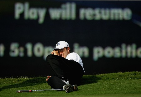 MIAMI - MARCH 23:  Richard Sterne of South Africa waits for play to be resumed during the final round of the 2008 World Golf Championships CA Championship at the Doral Golf Resort & Spa March 23, 2008 in Miami, Florida.  (Photo by Warren Little/Getty Images)