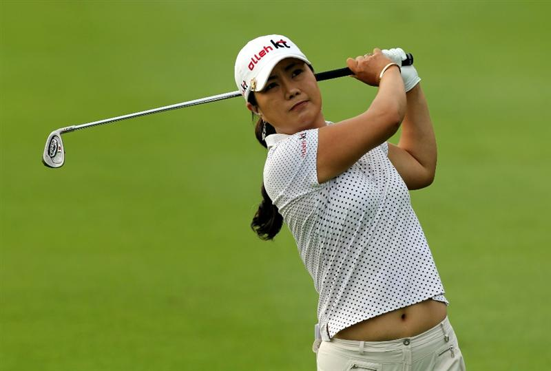 KUALA LUMPUR, MALAYSIA - OCTOBER 21:   Meena Lee of Korea Republic plays her 2nd shot on the 4th hole during the Sime Darby Pro-Am at the KLGCC Golf Course on October 21, 2010 in Kuala Lumpur, Malaysia (Photo by Stanley Chou/Getty Images)
