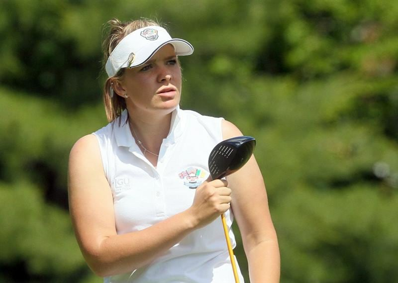 MANCHESTER, MA - JUNE 11:  Rachel Jennings of the Great Britain and Ireland team watches a shot during the Foursomes competition of the 2010 Curtis Cup Match at the Essex Country Club on June 11, 2010 in Manchester, Massachusetts. (Photo by Jim Rogash/Getty Images)