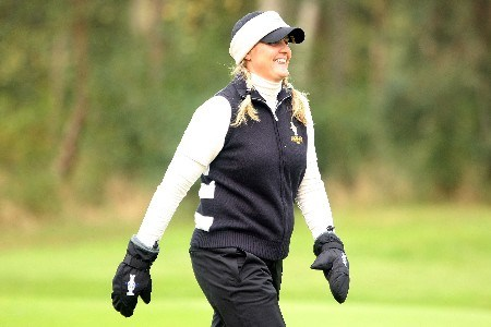 HALMSTAD, SWEDEN - SEPTEMBER 15:  Maria Hjorth of Europe walks off the third tee during the morning foursome matches of the 2007 Solheim Cup at on September 15, 2007 in Halmstad, Sweden.  (Photo by Scott Halleran/Getty Images)
