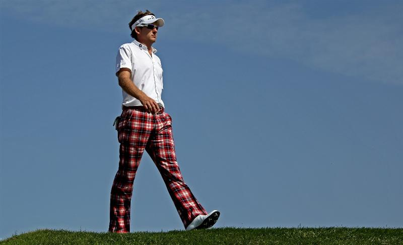 ABU DHABI, UNITED ARAB EMIRATES - JANUARY 24:  Ian Poulter of England walks from the third tee during the final round of The Abu Dhabi Golf Championship at Abu Dhabi Golf Club on January 24, 2010 in Abu Dhabi, United Arab Emirates.  (Photo by Andrew Redington/Getty Images)