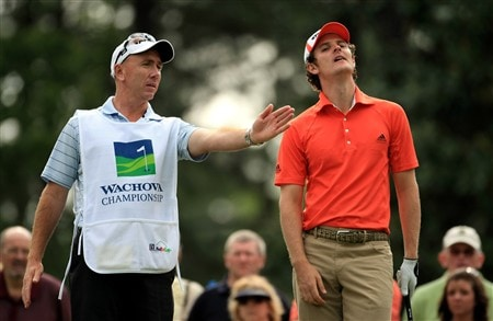CHARLOTTE, NC - MAY 02:  Justin Rose of England checks the wind direction with his caddy Mick Doran on the 6th tee during the second round of the Wachovia Championship at Quail Hollow Country Club on May 2, 2008 Charlotte, North Carolina.  (Photo by Richard Heathcote/Getty Images)