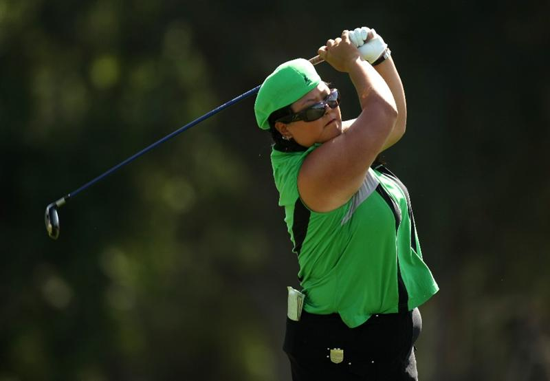RANCHO MIRAGE, CA - APRIL 02:  Christina  Kim hits her tee shot on the sixth hole during the first round of the Kraft Nabisco Championship at Mission Hills Country Club on April 2, 2009 in Rancho Mirage, California.  (Photo by Stephen Dunn/Getty Images)