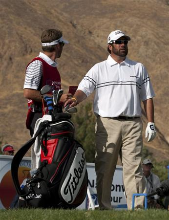 SAN JACINTO, CA - OCTOBER 04: Jerod Turner on the 14th hole tee box with his caddie Brooks West during the final round of the 2009 Soboba Classic at The Country Club at Soboba Springs on October 4, 2009 in San Jacinto, California. (Photo by Robert Laberge/Getty Images)