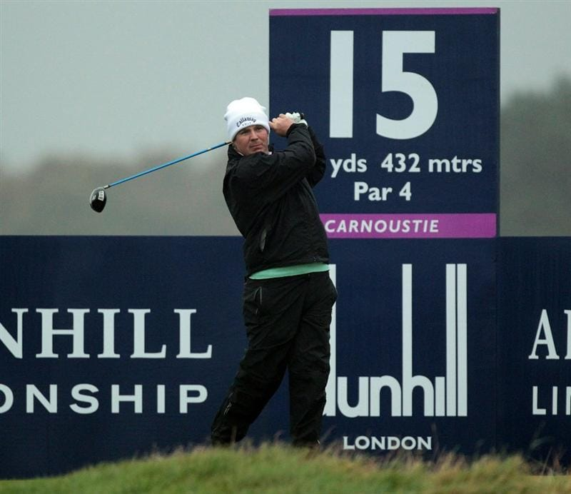CARNOUSTIE, SCOTLAND - OCTOBER 08: Ross McGowan of England plays his tee shot at the 15th hole during the second round of The Alfred Dunhill Links Championship at Carnoustie Golf Links on October 8, 2010 in Carnoustie, Scotland.  (Photo by David Cannon/Getty Images)