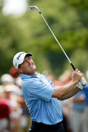 CARMEL, IN - AUGUST 02:  Fred Funk of the USA hits his first shot on the 3rd hole during the final round of the 2009 U.S. Senior Open on August 2, 2009 at Crooked Stick Golf Club in Carmel, Indiana.  (Photo by Jamie Squire/Getty Images)