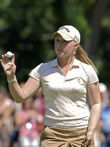 Morgan Pressel leaves the second green during the final round of the Safeway Classic at Columbia-Edgewater Country Club in Portland, Oregon on August 20, 2006.Photo by Al Messerschmidt/WireImage.com