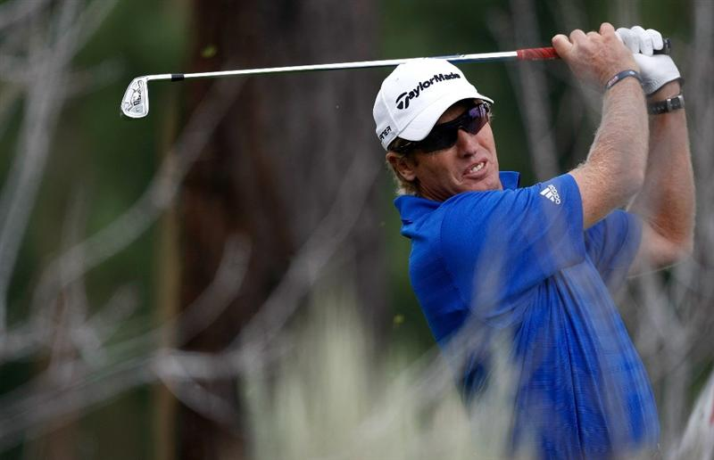 RENO, NV - AUGUST 07:  Grant Waite tees off on the 16th hole during the second round of the Legends Reno-Tahoe Open on August 7, 2009 at Montreux Golf and Country Club in Reno, Nevada.  (Photo by Jonathan Ferrey/Getty Images)