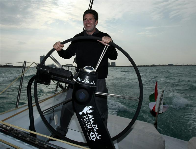 ABU DHABI, UNITED ARAB EMIRATES - JANUARY 18:  The new European Ryder Cup Team Captain for the 2012 matches Jose Maria Olazabal of Spain takes the helm on board the Abu Dhabi Ocean Racing entry for the 2011 Volvo Ocean Race as a preview for the 2011 Abu Dhabi HSBC Golf Championship to be held at the Abu Dhabi Golf Club on January 18, 2011 in Abu Dhabi, United Arab Emirates.  (Photo by David Cannon/Getty Images)