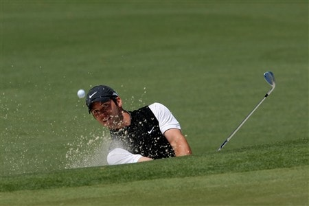 AUGUSTA, GA - APRIL 13:  Paul Casey of England plays a bunker shot on the second hole during the final round of the 2008 Masters Tournament at Augusta National Golf Club on April 13, 2008 in Augusta, Georgia.  (Photo by Harry How/Getty Images)