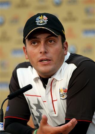 NEWPORT, WALES - SEPTEMBER 28:  Francesco Molinari of the Europe Team answers questions from the media at a press conference following a practice round prior to the 2010 Ryder Cup at the Celtic Manor Resort on September 28, 2010 in Newport, Wales.  (Photo by Ross Kinnaird/Getty Images)