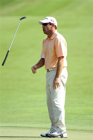 PONTE VEDRA BEACH, FL - MAY 06:  Brian Davis of England reacts to a missed putt on the second green during the first round of THE PLAYERS Championship held at THE PLAYERS Stadium course at TPC Sawgrass on May 6, 2010 in Ponte Vedra Beach, Florida.  (Photo by Scott Halleran/Getty Images)