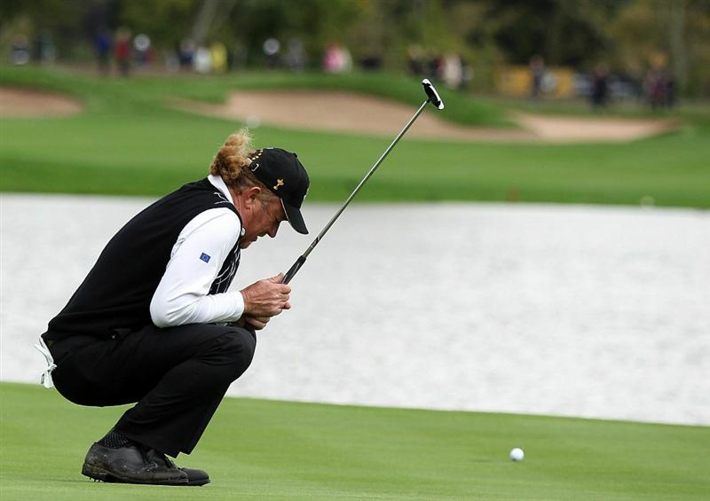 NEWPORT, WALES - OCTOBER 03:  Miguel Angel Jimenez of Europe reacts to a missed putt during the  Fourball & Foursome Matches during the 2010 Ryder Cup at the Celtic Manor Resort on October 3, 2010 in Newport, Wales.  (Photo by David Cannon/Getty Images)