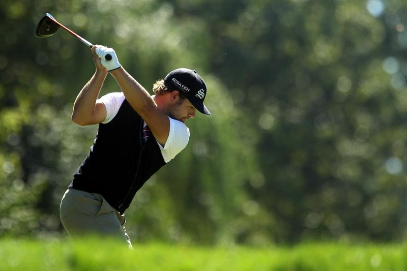 LEMONT, IL - SEPTEMBER 12:  Ryan Moore hits a shot on the ninth hole during the final round of the BMW Championship at Cog Hill Golf & Country Club on September 12, 2010 in Lemont, Illinois.  (Photo by Scott Halleran/Getty Images)
