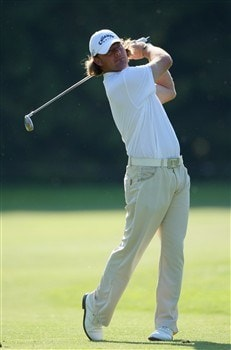 MUNICH, GERMANY - JUNE 19:  Alex Cejka of Germany plays his approach shot on the 18th hole during the first round of The BMW International Open Golf at The Munich North Eichenried Golf Club on June 19, 2008, in Munich, Germany.  (Photo by Stuart Franklin/Getty Images)