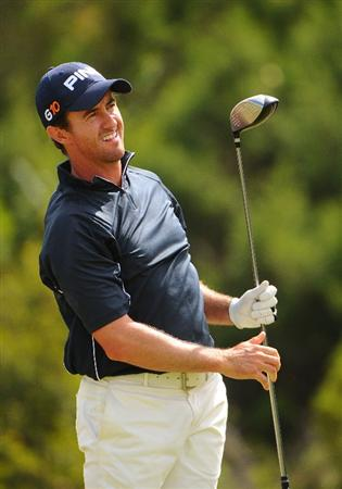 SAN ANTONIO - OCTOBER 11: Mark Hensby tees off the 9th hole during the third round of the Valero Texas Open  held at La Cantera Golf Club on October 11, 2008 in San Antonio, Texas  (Photo by Marc Feldman/Getty Images)