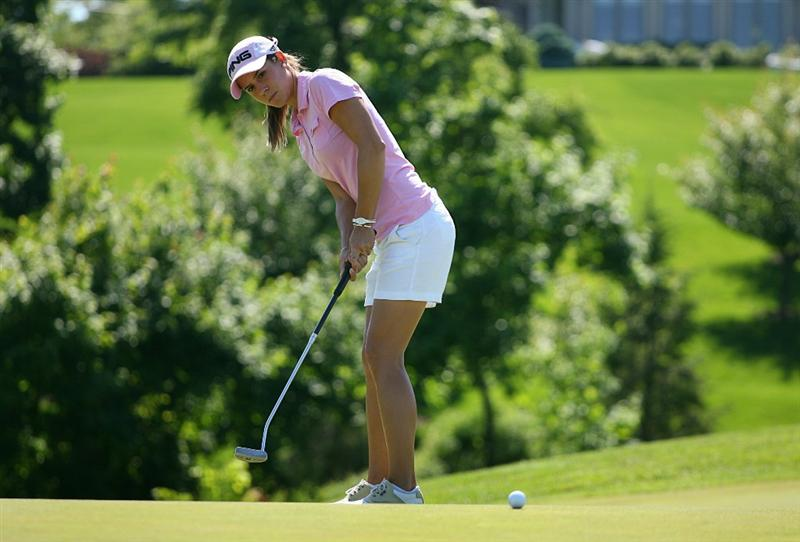 GLADSTONE, NJ - MAY 20 : Azahara Munoz of Spain hits her third shot on the 14th hole during the first round of the Sybase Match Play Championship at Hamilton Farm Golf Club on May 20, 2010 in Gladstone, New Jersey. (Photo by Hunter Martin/Getty Images)