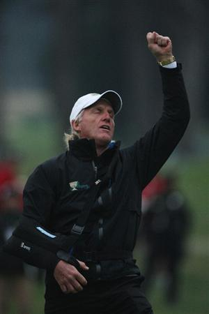 SAN FRANCISCO - OCTOBER 10:  Greg Norman, Captain of the International Team rues a missed putt on the 18th green during the Day Three Afternoon Fourball Matches of The Presidents Cup at Harding Park Golf Course on October 10, 2009 in San Francisco, California.  (Photo by Warren Little/Getty Images)