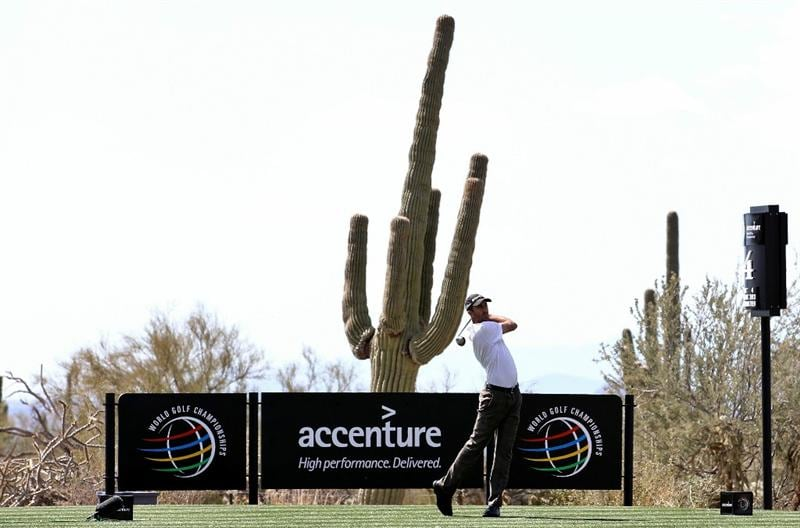 MARANA, AZ - FEBRUARY 24:  Geoff Ogilvy of Australia hits his tee shot on the fourth hole during the second round of the Accenture Match Play Championship at the Ritz-Carlton Golf Club on February 24, 2011 in Marana, Arizona.  (Photo by Sam Greenwood/Getty Images)