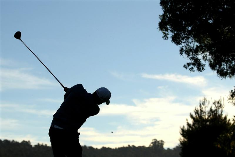 PEBBLE BEACH, CA - FEBRUARY 13:  Keegan Bradley tees off on the second hole during the final round of the AT&T Pebble Beach National Pro-Am at the Pebble Beach Golf Links on February 13, 2011 in Pebble Beach, California.  (Photo by Ezra Shaw/Getty Images)