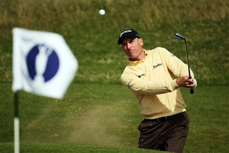 SOUTHPORT, UNITED KINGDOM - JULY 16:  Jim Furyk of USA hits out of a bunker during the third practice round of the 137th Open Championship on July 16, 2008 at Royal Birkdale Golf Club, Southport, England. (Photo by Ross Kinnaird/Getty Images)