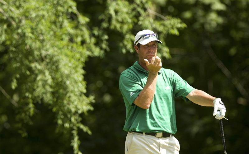 RALEIGH, NC - MAY 31: Jeff Gallagher blows on his hand while waiting to tee off on the 16th hole during the final round of the Rex Hospital Open Nationwide Tour golf tournament at the TPC Wakefield Plantation on May 31, 2009 in Raleigh, North Carolina. (Photo by Chris Keane/Getty Images)