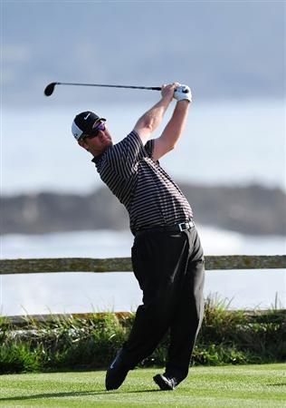 PEBBLE BEACH, CA - FEBRUARY 12:  David Duval plays a shot on the 18th hole during round two of the AT&T Pebble Beach National Pro-Am at Pebble Beach Golf Links on February 12, 2010 in Pebble Beach, California.  (Photo by Stuart Franklin/Getty Images)