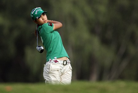 KAHUKU, HI - FEBRUARY 14:  Momoko Ueda of Japan hits her tee shot on the 16th hole during the first round of the SBS Open on February 14, 2008  at the Turtle Bay Resort in Kahuku, Hawaii.  (Photo by Andy Lyons/Getty Images)